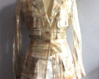 Issey Miyake veste transparente blazer Miyake style safari design japonais vintage motif écossais brillant