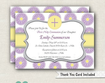 Purple Flowers First Communion Invitation - Printable Invite - Girl First Holy Communion - Baptism Invite - Girl First Communion