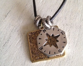 Mens leather pendant,mens necklace, mens jewelry,mens accessories, mens compass leather necklace,mens gift, gift for him,compass pendant