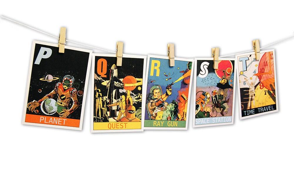 sci fi alphabet flashcards    science fiction abc flashcards