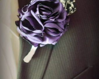 ANY COLOR boutonniere- custom mens wedding boutonnieres, boutineer, purple boutonniere, wedding boutineer,wedding flowers