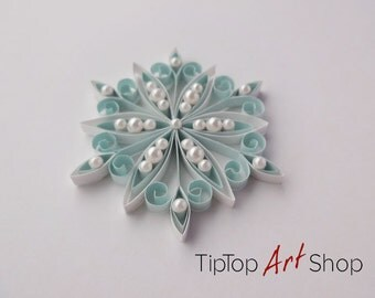 Quilling Snowflake Ornament for Your Christmas Decoration in White and Pale Blue; Gift Packaged