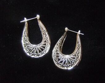 Three Dimensional Silver Tone Filigree Earrings, Estate Find