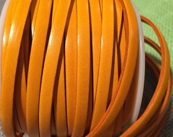 """16"""" 5mm flat leather cord, Italian Dolce Vivid Buttercup Yellow 5mm Flat Leather Cord finding, jewelry supplies strap"""