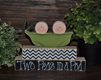 Two Peas in a Pod Centerpiece Twins Baby Shower Decor Personalized Nursery Decor Two Peas in a Pod Decoration Chevron Pea in Pod Nursery