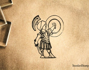 Mighty Roman Soldier Rubber Stamp - 2 x 2 inches