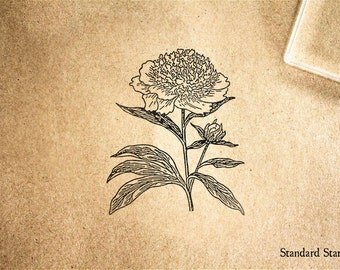 Peony Rubber Stamp - 2 x 2 inches