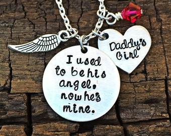 I used to be his angel, now he's mine, handstamped memorial necklace, dad necklace, in memory of necklace, memorial necklace, personalized