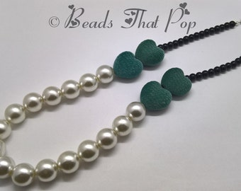 White Pearl Chunky Statement Necklace, Turquoise Flocked Heart Necklace, Statement Necklace, Beaded Necklace, Handmade!