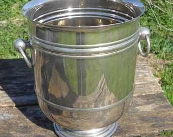 Wine Cooler Champage Bucket French Restaurant Quality Superb Stainless Steel and Plate Really Special Design and Quality