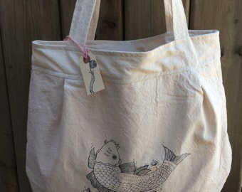 Koi Printed Tote Bag