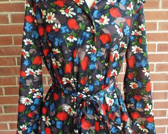 Vintage Floral Print Extra Long Blouse with Matching Belt