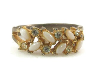Uncas Faux Opal and Rhinestone Ring - Size 9