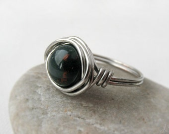 Bloodstone Wire Wrapped Sterling Silver Ring, March birthstone, Boho, Earthy Simple, Copper, Gold, Base / Heart Chakra, protection, oxidized