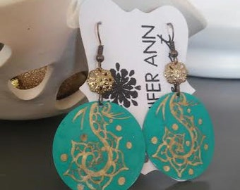 Hand Etched Metal Henna Earrings