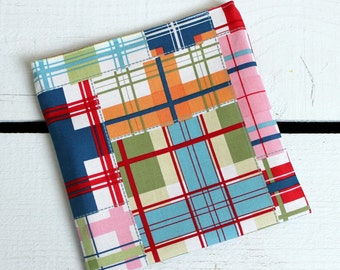 Reusable Snack and Sandwich Bag with Michael Miller Shore Thing Madras Fabric