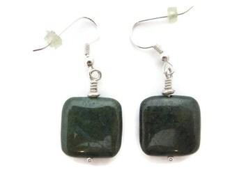 Green Stone Earrings, Dark Green Earrings, Copper Green Jasper Earring, Olive Green Earrings, Moss Green Dangle, Forest Green, Stone Dangle
