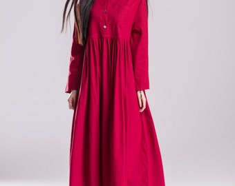 Red dress long sleeves large size dress