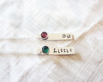 ONE Custom Birthstone or Pearl Sorority Necklace or Keychain - Big Little Gift - Greek Life - Sterling Silver Available