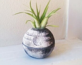 Star Wars inspired, Death Star planter, air plant holder, geek chic, desk planter, gift for nerd