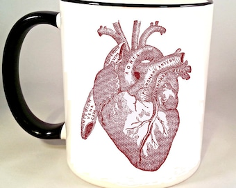 Anatomical Heart Coffee Mug, Vintage Medical Illustration Coffee Cup, Anatomy Horror Mug, Sublimated 11 oz, Colored Handle & Rim, 4 Colors