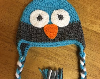Boy Owl Hat - teal and gray
