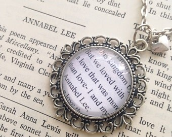 Handmade Edgar Allan Poe Annabel Lee Quote Necklace // We Loved with a Love That Was More Than Love Necklace