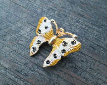 Gold Butterfly Brooch, Gold, White, and Black Butterfly Pin, Butterfly Jewelry, Small Butterfly Pin, Gift for Her, Costume Jewelry