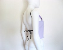 Purple + Black  Backless Black Tie shirt / open back top / made to order