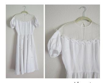 50s Wedding Dress White Daisy Daisies Appliques 1950s Full Skirt Sheer Mesh Bridesmaid Retro Size XS