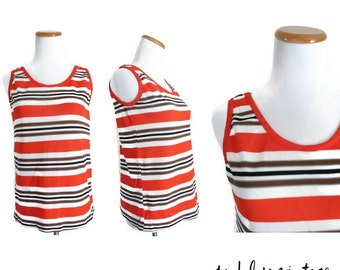 60s Mod Blouse Tank Top Shirt Striped Knit 1960s Go Go Twiggy Size Small Red White Brown Black 70s 1970s