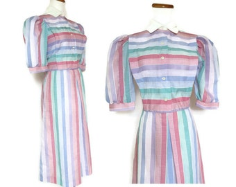 Rainbow Dress / Pastel Dress / Candy Dress / 80s Dress / Rainbow Striped Dress / Candy Stripe Dress / Indie Dress / Medium Large