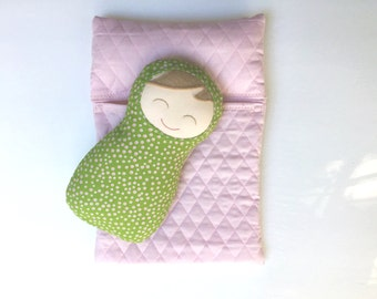 "Your Choice Blonde, Brunette, Auburn Baby Doll and Sleeping Bag Set: Pink and Green Snuggly Swaddle Doll, 10"" High"
