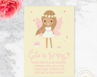 Fairy Birthday Invitation Printable / Woodland Fairy Invite / Pink