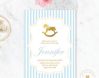 Boy Baby Shower Invitation / Rocking Horse Baby Shower Invite / Blue / Gold