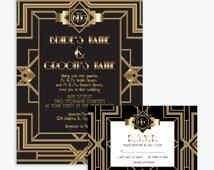 Art Deco, Great Gatsby Themed, Black & Gold Wedding Invitation