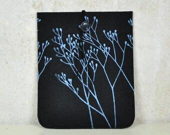 iPad / iPad Air sleeve - Black Felt case Silkscreen Printed - cover with Wild Plant Pattern