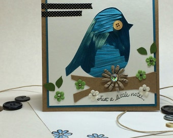Just a little note, bird iris folding, greeting card handmade
