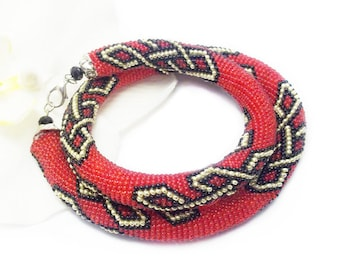 Bff gifts viking jewelry celtic knot necklace irish jewelry celtic jewelry red jewelry beaded necklace pagan jewelry symbolic jewelry for me