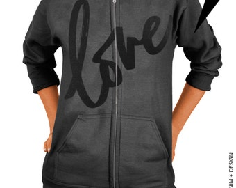 Love - Valentine's Day - Charcoal Gray Zip Up Hoodie - Hooded Sweatshirt