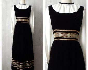 holiday renaissance | Women's Vintage 60s Black Velvet and Floral Brocade Ribbon Boho Maxi Dress // Size xxs xs 0 1 2