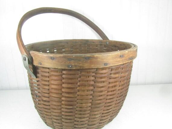 Antique Basket Wicker Basket Shabby Chic Decor Wicker