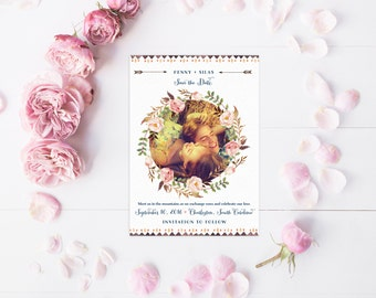 Floral Save the Date Cards with Photo - Garden Wedding Boho Floral Wreath Save the Date Cards - Printable or Printed