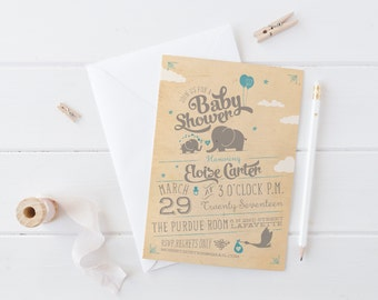 Elephant Baby Shower Invitations - Printable or Printed Vintage Baby Shower Invites - Blue or Pink