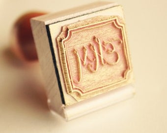 Custom Monogram Stamp - Hand Lettered Initials - Personalized Rubber Stamp Gift