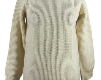 1980s Chunky Knit Contast Cream Jumper