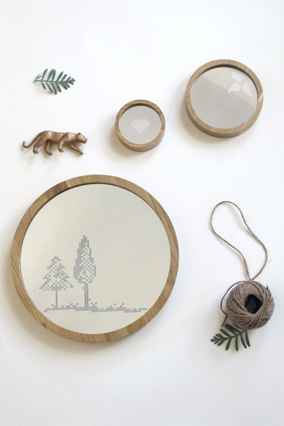 Items Similar To Large Round Mirror Trees Cross Stitch