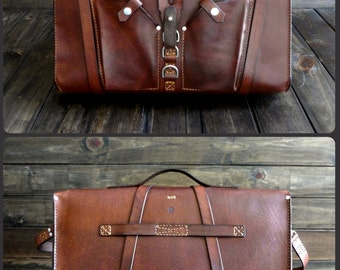 Leather Messenger Bag - Custom Laptop Bag - Handmade Leather Satchel - Men's LapTop bag - Custom Briefcase - Rustic, Personalized, Gentlemen