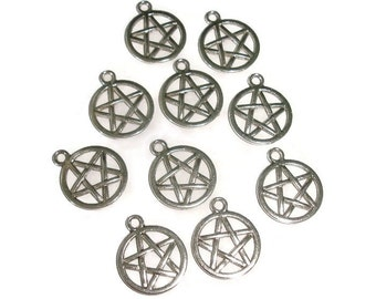 Pentagram charms Pentacle charms 10 Silver Pentacle charms destash supplies Pentacle pendant Pentagram charms jewelry making nickel size