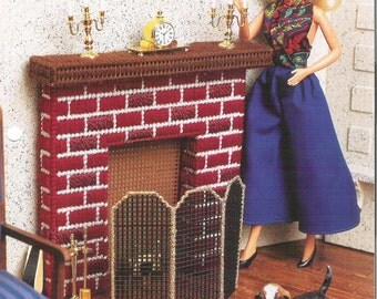 BARBIE'S WARM HEARTH, Plastic Canvas Pattern, Barbie Furnishing, Doll Furniture,  Canvas Pattern, Annies Fashion, Doll Canvas